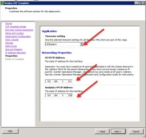 vCenter Operations Manager 5.3 Install Select IP Address