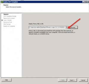 vCenter Operations Manager 5.3 Install Select OVA