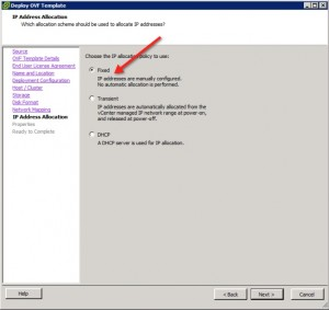 vCenter Operations Manager 5.3 Install Select IP