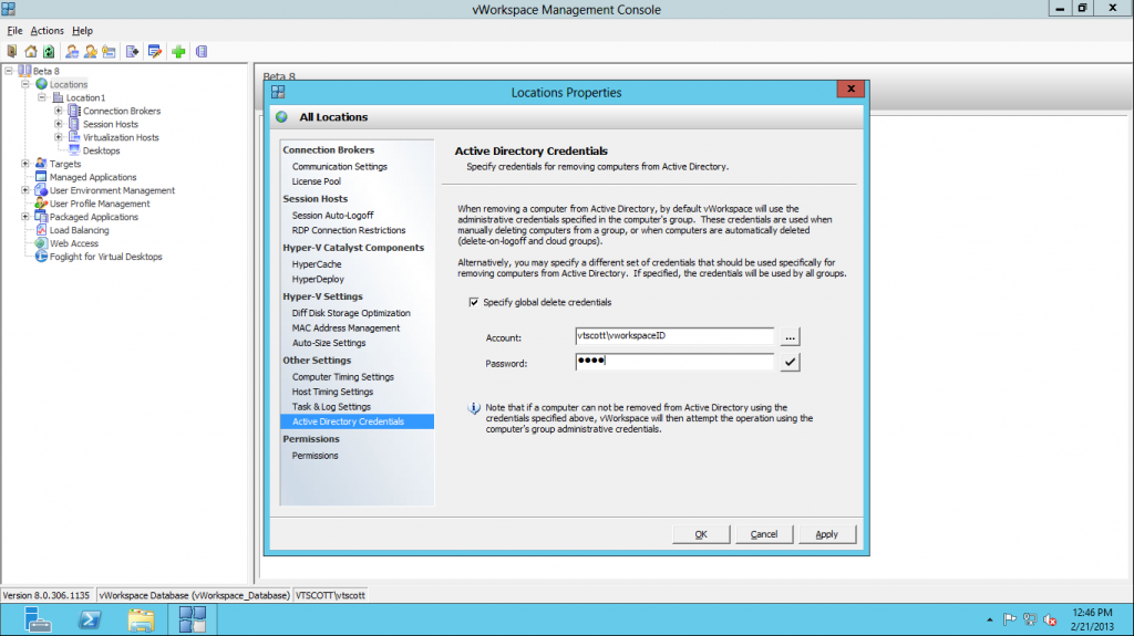 vworkspace active directory credentials